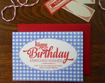 letterpress bread bag happy birthday greeting card blue gingham with red script type greatest thing since sliced bread