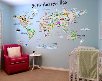 Beau Animal Map   Cultural World Map Wall Decal   Reusable Vinyl Fabric    Repositionable Decal
