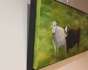Two Cows Painting Oil on Canvas Original Oil Painting by Jill Opelka Brown Cow and White Cow Framed Oil Painting Cows Grazing Large