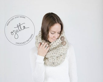 Crochet Pattern - Chunky Button Down Cowl, Neckwarmer With Wood Buttons - The Yosemite Cowl