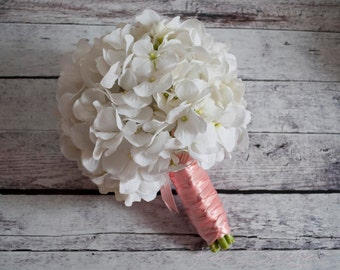 White Hydrangea Wedding Bouquet - White and Blush Pink Hydrangea Bouquet