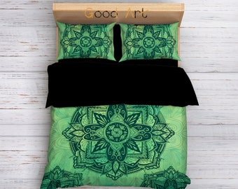 Boho Bedding, Mandala Bedding, Boho Duvet Cover, Hippie Bedding, Sacred Mandala Bedding, Full Bedding, Twin Bedding, Green Bedding, Bedding
