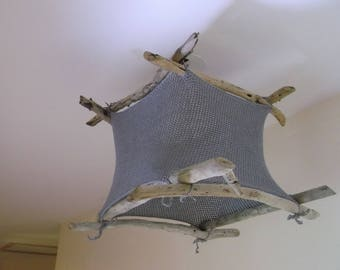 Ceiling light, Lampshade hanging driftwood and grey crocheted cotton