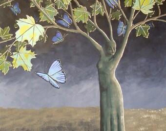 Butterfly Maple Tree, Surreal Landscape Painting, Handmade Wall Art, Butterfly Painting, Surreal Butterfly