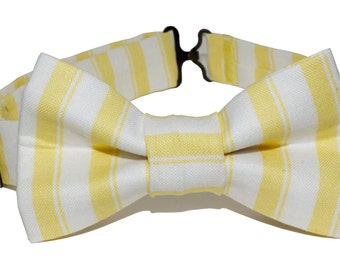 Bow Tie - Yellow and White Striped Bowtie for Boys