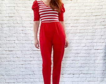 Vintage 80s Striped Puff Sleeve Cropped Pants Tapered Jumpsuit Red Fitted XS S Punk Breakdance Disco Roller Boogie