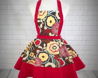 Retro pinup style apron / 70's inspired red and brown floral print cotton and red corduroy / great gift for hostess or bride or just because