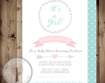 Modern Simple Baby Shower Invitation, BABY SHOWER invitation, baby girl, baby girl shower invitation, modern, simple, clean, wreath