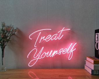 Treat Yourself Neon Sign For Living Room Bedroom Home Decor Personalised  Handmade Artwork Dimmable Wall Light