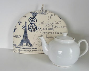 Fabric tea cozy, Cotton fabric cozy, Lined teapot warmer, French writing print fabric