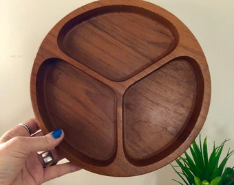 Mid Century Danish Style Round Teak Divided Snack Tray Dolphin Teakwood Made in Thailand