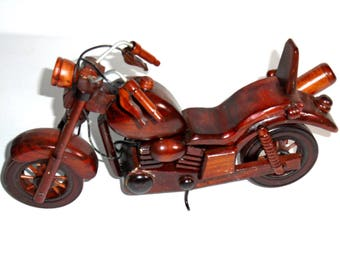Vintage Custom Made cherry Wood Harley Davidson Motorcycle  11 x 7 x 2.5