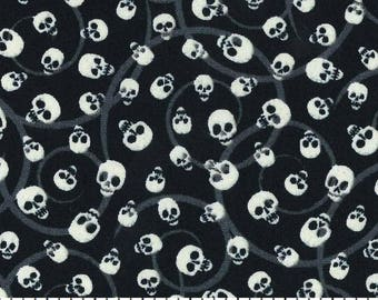 Mini Tossed Skulls Glow in the Dark Halloween Cotton Fabric by the half yard