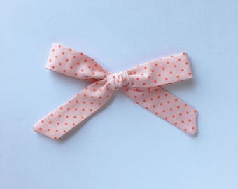 Skinny knotted bows in Cotton Candy || Headband or hair clip.