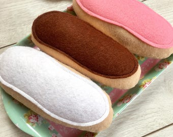 Set of Three Pretend Play Felt Food Iced Buns