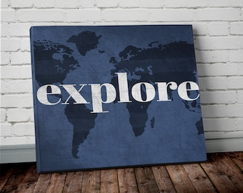 Watercolor navy blue world map canvas wall art adventure explore world map wall art canvas print of world map in navy blue world map canvas print gumiabroncs Image collections