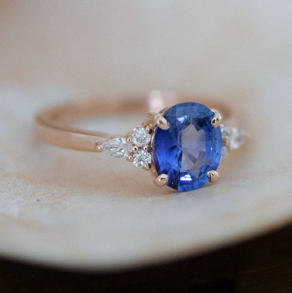 Rose gold sapphire ring. Oval blue sapphire ring. 1.5ct cornflower blue sapphire diamond ring 14k rose gold engagement ring by Eidelprecious