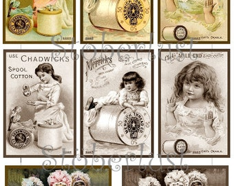 "8 x  Advertising labels ""sewing"" colored and sepia  instant download digital collage sheet"