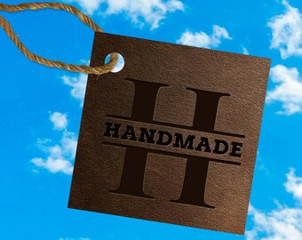 """Leather texture 2x2"""" """"HANDMADE"""" product tags - print on 4x6"""""""