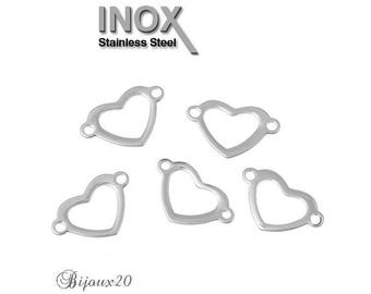 1 connector 22x14mm Lot M02815 stainless steel heart shape