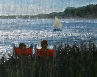 "Beach Chairs Sailboat Coastal Ocean Nautical Sea Original signed Acrylic Painting square 6""x 6""x 1.5"""