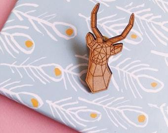 Pin's Antelope animal cut wooden brooch