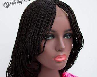 Braided Wig -CHIOMA BOB -Lace Front, 360 Lace Wig options available, Layered box braid Bob style, Custom Braids Wig, Handmade Braided Wigs