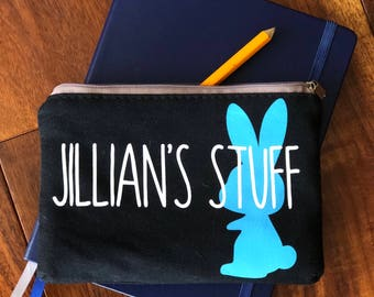 Personalized zip pouch coin purse pen holder