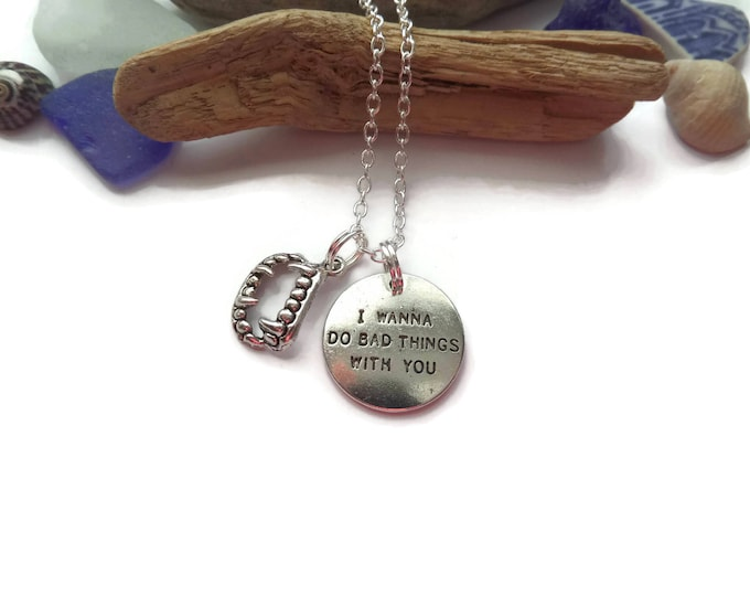 "TRUE BLOOD "" bad things "" themed 24"" silver tone charm necklace, vampire fandom gift, vampire jewelry, true blood necklace, sandykissesuk"
