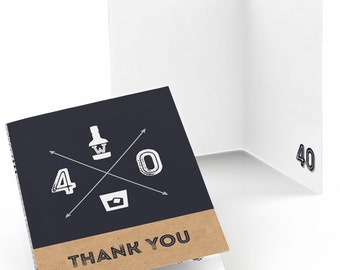 40th Birthday Thank You Cards - Aged to Perfection Thank You Cards - 40th Milestone Birthday Party Supplies - Set of 8 Folding Note Cards