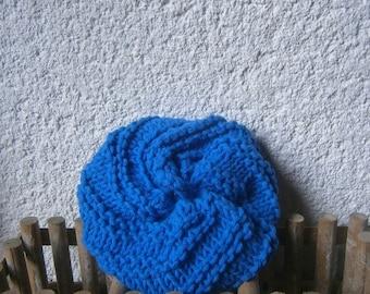 Sponge Tawashi, blue shower flower, organic cotton