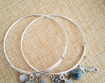 Set of 2! UNDER THE SEA Ocean Silver Finish Expandable Bracelets Sea Shell Amazonite Stone Wire Wrapped Charm Starfish Sea horse