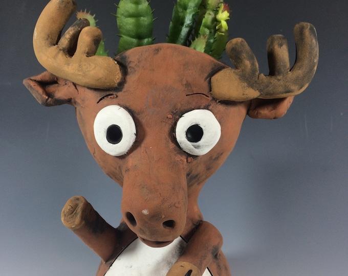 Marty Moose // Succulent planter // animal pot // handmade gift // pothead // ceramic // home decor // Canadian Moose // cute // small