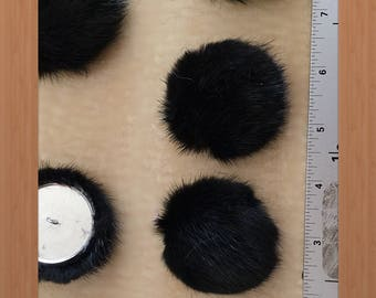 B-28 Black Mink Fur Button for Fur coat sewing decoration #60 38 mm