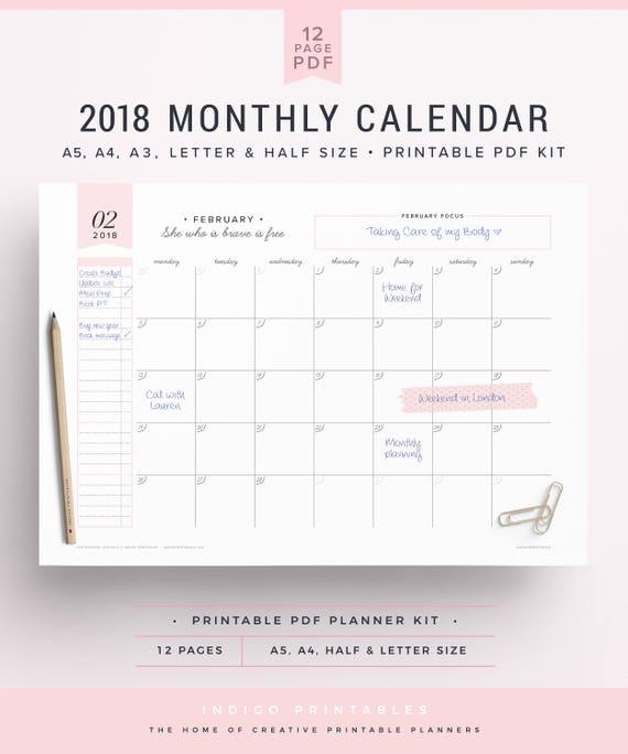 monthly calendar 2018 pdf