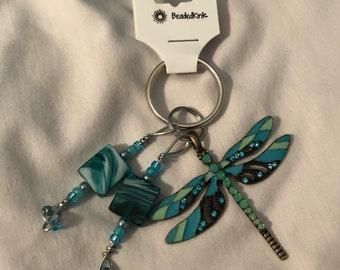 Aqua dragonfly keychain