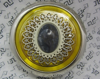 Compact Mirror Bridesmaids Gifts Gold and Gray Comes With Protective Pouch
