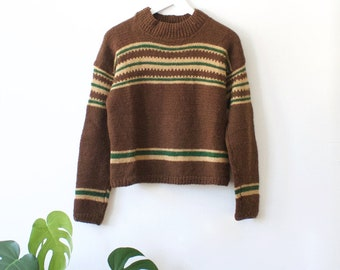 Vintage Women's Hand Knitted Wool Jumper // Brown Beige Green Striped Pullover // Hippie 70s Clothing // Knitted Sweater // Winter Fall