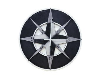 "48"" Compass Wall Clock, Custom Wall Clock, Compass Wall Clock, Oversized Wall Clock, Large Wall Clock, Wall Clock"