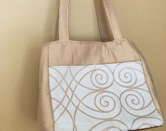 Beth#1600, Creamy Tan and Ivory Swirl Pattern Knitting Bag, Expanding Knitting Tote, Knitting Project Tote, Large Project Bag, Yarn Tote,