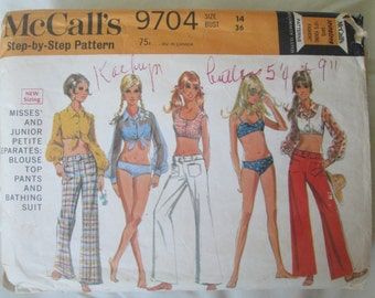 McCalls 9704 Womens Halter Blouse or Top, Pants and Bikini Sewing Pattern Size 14 Bust 36