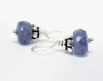 Pair of Tanzanite Earring Charms, Interchangeable Dangles, Sterling Silver Gemstone Charms, Necklace Charms, Silver Hoop Earring Charms,