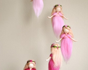 Girls Mobile Waldorf inspired needle felted Room Decoration: The Pink Colors Wool Fairies