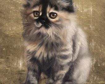 Pet Portrait: Digital Custom Cat Portrait Painting