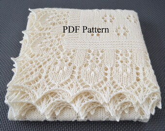 "Shawl pattern ""Forest Glade"". Lace Wrap, Scarf, Baby shawl, Christening shawl. Original design. PDF pattern. LaceKnit design"
