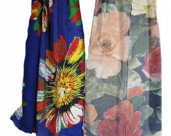 2 Extra Long Floral Scarf, Festival Scarf, Head Scarf, Vintage Wrap Shawl Flowers Beach