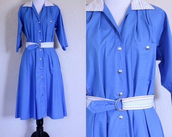 Pinstripe Dress Shirt Waist Dress Shirtwaist Dress Belted Dress Light Blue Dress Rainbow Belt Rainbow Collar Snap Button Dress Knee Length