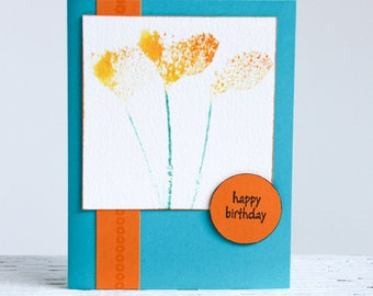 Birthday Card with California Poppies, Stamped Watercolor Image, Handmade Turquoise and Orange Notecard, Happy Birthday, Watercolor Card