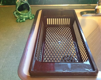 Plastic dish drainer, dish rack, brown plastic dish drying rack, retro kitchen, brown kitchen, brown dish rack