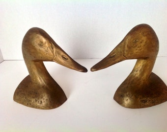 Pair of Vintage Brass Duck Head Bookends